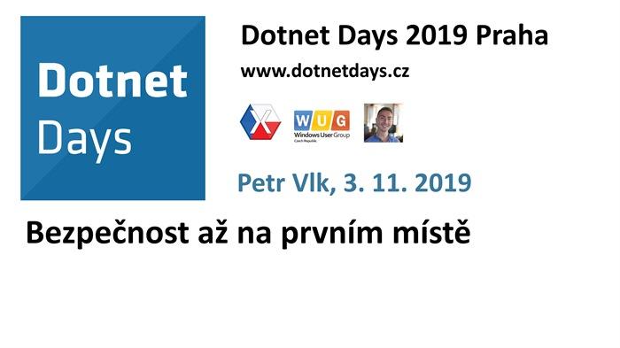 Dotnet Days 2019: Bezpečnost až na prvním místě