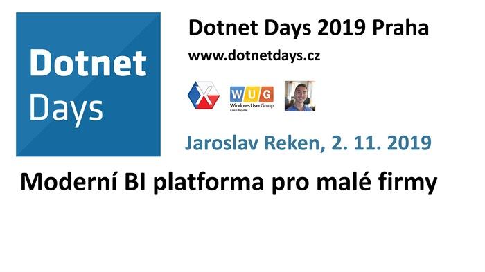 Dotnet Days 2019: Moderní BI platforma pro malé firmy